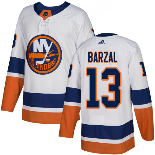 Islanders #13 Mathew Barzal White Road Authentic Stitched Hockey Jersey