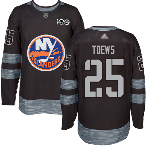 Islanders #25 Devon Toews Black 1917-2017 100th Anniversary Stitched Hockey Jersey