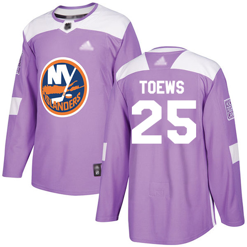 Islanders #25 Devon Toews Purple Authentic Fights Cancer Stitched Hockey Jersey