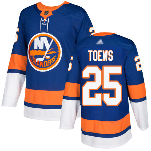 Islanders #25 Devon Toews Royal Blue Home Authentic Stitched Hockey Jersey
