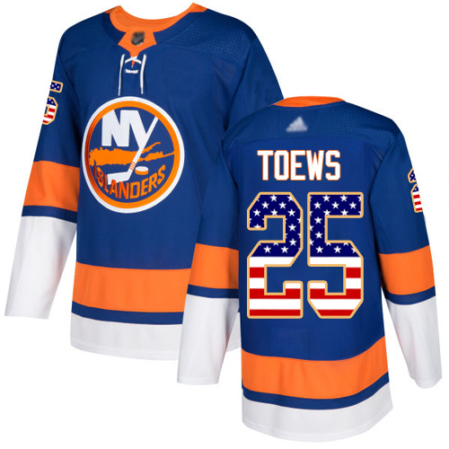 Islanders #25 Devon Toews Royal Blue Home Authentic USA Flag Stitched Hockey Jersey
