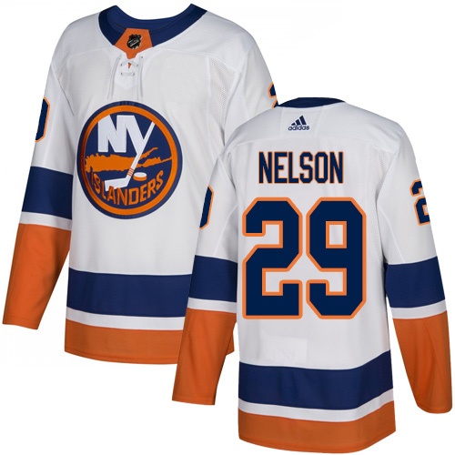 Islanders #29 Brock Nelson White Road Authentic Stitched Hockey Jersey