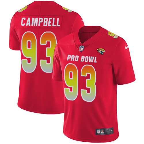 Jaguars #93 Calais Campbell Red Youth Stitched Football Limited AFC 2019 Pro Bowl Jersey