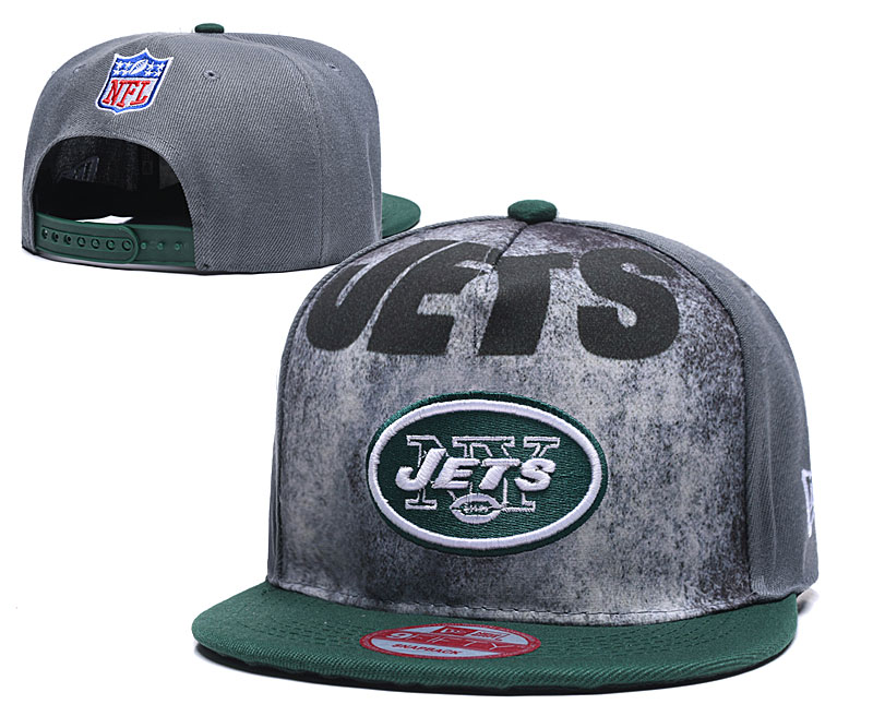 Jets Team Logo Gray Green Adjustable Hat TX