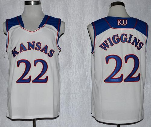 Kansas Jayhawks #22 Andrew Wiggins White Basketball Stitched NCAA Jersey
