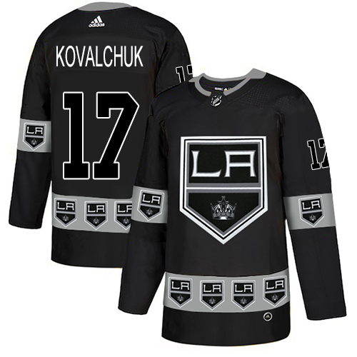 Kings #17 Ilya Kovalchuk Black Authentic Team Logo Fashion Stitched Hockey Jersey