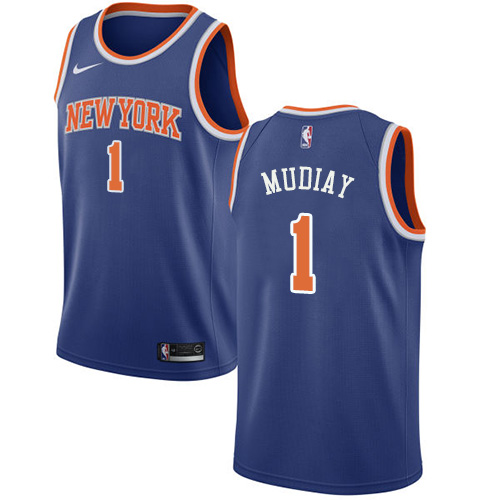Knicks #1 Emmanuel Mudiay Blue Basketball Swingman Icon Edition Jersey
