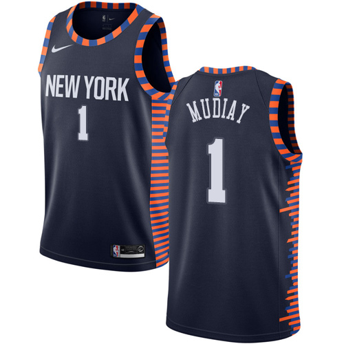 Knicks #1 Emmanuel Mudiay Navy Basketball Swingman City Edition 2018 19 Jersey