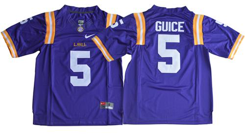 LSU Tigers #5 Derrius Guice Purple Limited Stitched NCAA Jersey