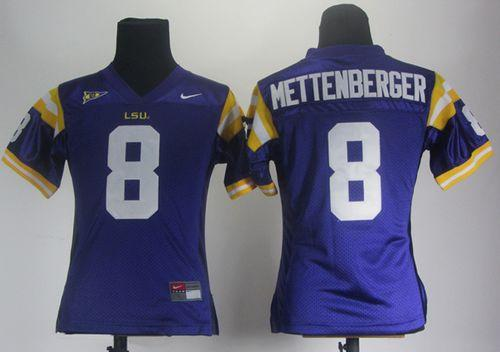 LSU Tigers #8 Zach Mettenberger Purple Women's Stitched NCAA Jersey