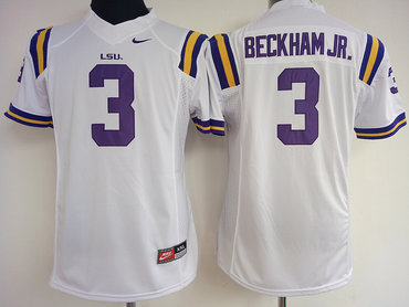 LSU Tigers 3 Odell Beckham Jr White College Football Jersey