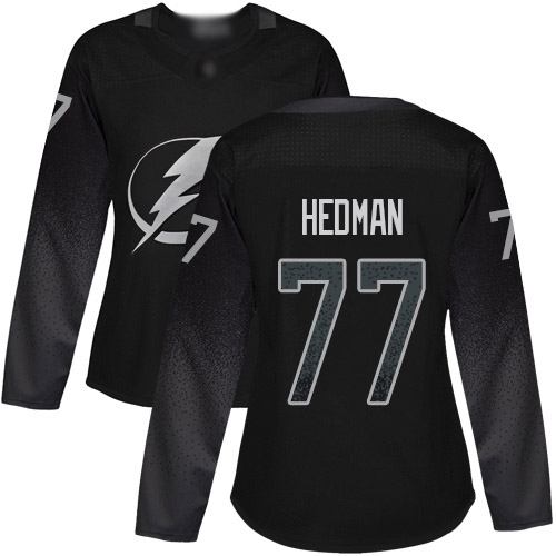 Lightning #77 Victor Hedman Black Alternate Authentic Women's Stitched Hockey Jersey