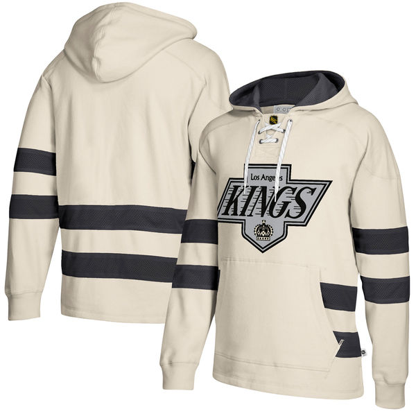 Los Angeles Kings Cream Men's Customized All Stitched Hooded Sweatshirt