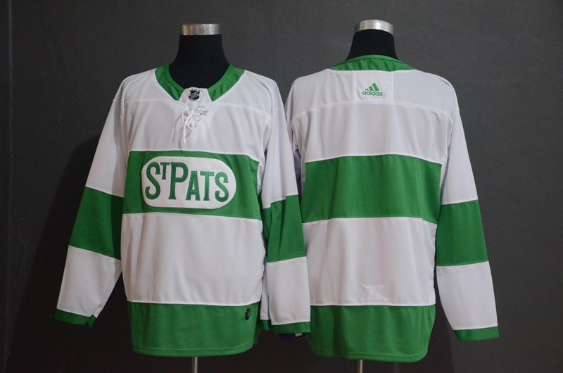 Maple Leafs Blank White 2019 St. Patrick's Day Adidas Jersey
