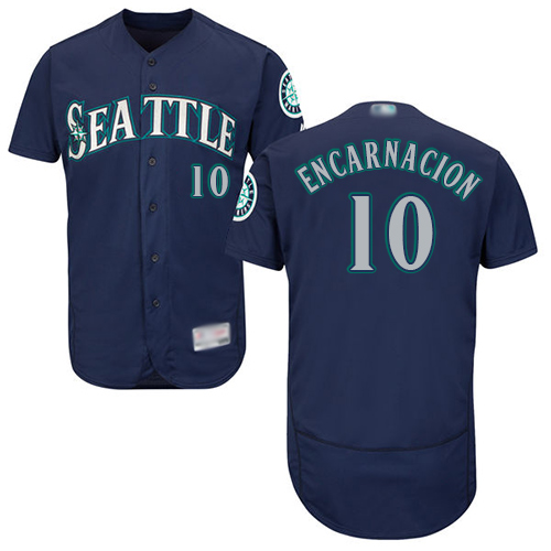 Mariners #10 Edwin Encarnacion Navy Blue Flexbase Authentic Collection Stitched Baseball Jersey