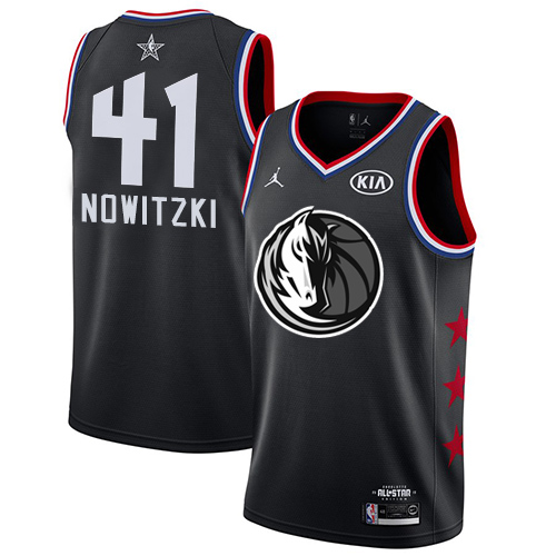 Mavericks #41 Dirk Nowitzki Black Basketball Jordan Swingman 2019 All-Star Game Jersey