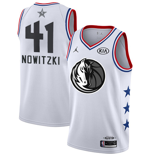 Mavericks #41 Dirk Nowitzki White Basketball Jordan Swingman 2019 All-Star Game Jersey