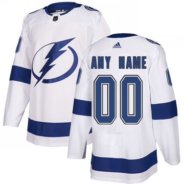 Men's Adidas Lightning Personalized Authentic White Road NHL Jersey