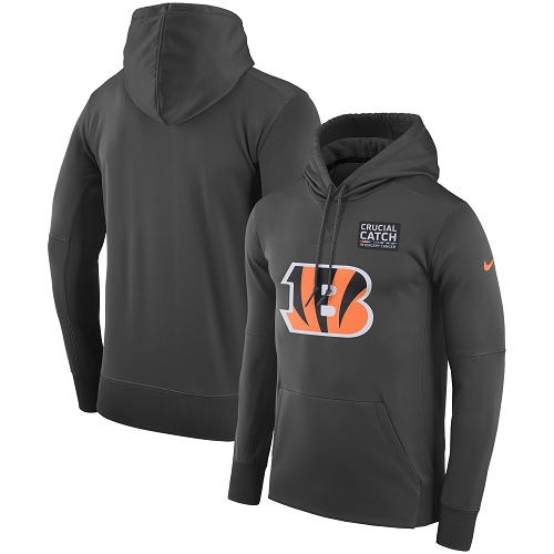 Men's Cincinnati Bengals Nike Anthracite Crucial Catch Performance Pullover Hoodie