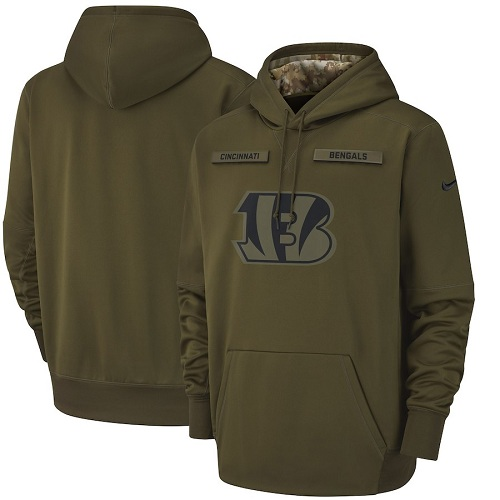 Men's Cincinnati Bengals Nike Olive Salute to Service Sideline Therma Performance Pullover Hoodie