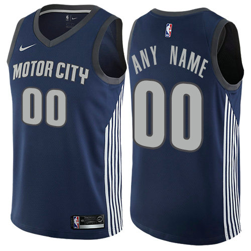 Men's Nike Detroit Pistons Customized Authentic Navy Blue NBA City Edition Jersey