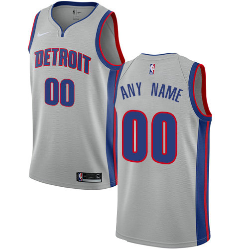 Men's Nike Detroit Pistons Customized Authentic Silver NBA Statement Edition Jersey