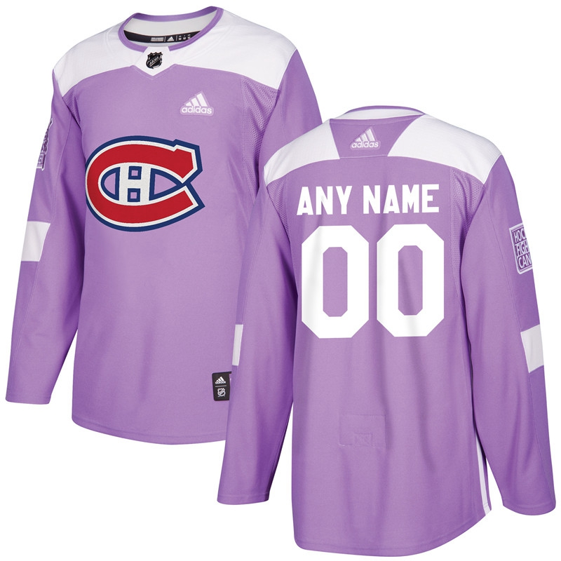 Montreal Canadiens Purple Adidas Hockey Fights Cancer Custom Practice Jersey