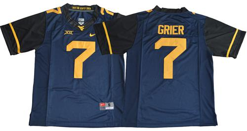 Mountaineers #7 Will Grier Navy Blue Limited Stitched NCAA Jersey