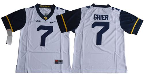 Mountaineers #7 Will Grier White Limited Stitched NCAA Jersey
