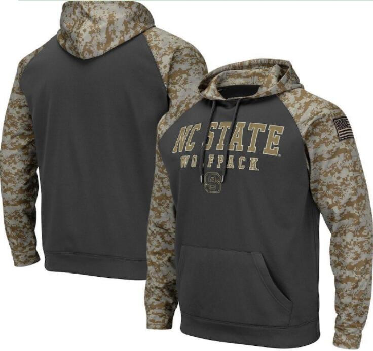 NC State Wolfpack Gray Camo Men's Pullover Hoodie