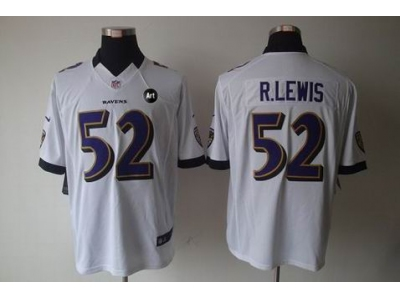 NEW Baltimore Ravens #52 Ray Lewis white jerseys(Limited Art Patch)