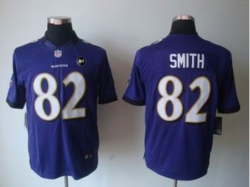 NEW Baltimore Ravens #82 Torrey Smith purple jerseys(Limited Art Patch)