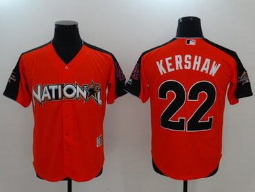 National League 22 Clayton Kershaw Orange 2017 MLB All Star Game Home Run Derby Player Jersey