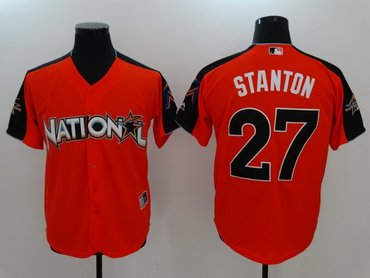 National League 27 Giancarlo Stanton Orange 2017 MLB All-Star Game Home Run Derby Player Jersey