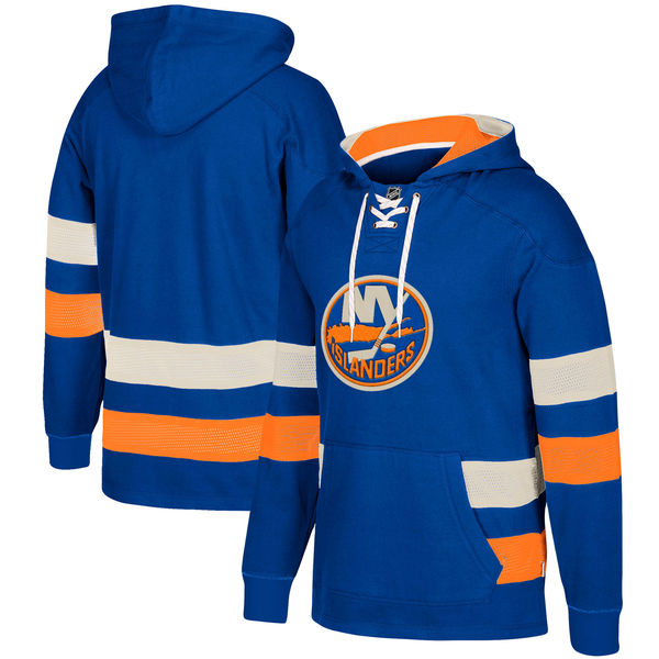 New York Islanders Blue Men's Customized All Stitched Hooded Sweatshirt