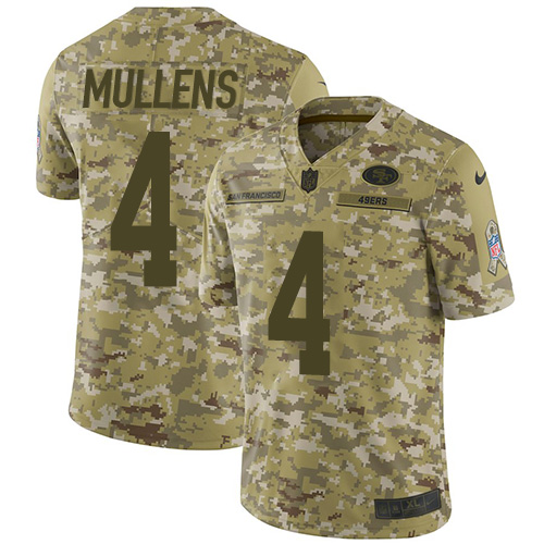 Nike 49ers #4 Nick Mullens Camo Men's Stitched NFL Limited 2018 Salute To Service Jersey