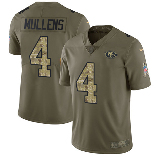 Nike 49ers #4 Nick Mullens Olive Camo Men's Stitched NFL Limited 2017 Salute To Service Jersey