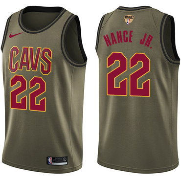 Nike Cavaliers #22 Larry Nance Jr. Green Salute to Service The Finals Patch NBA Swingman Jersey