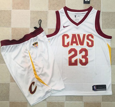 Nike Cavaliers #23 LeBron James White A Set The Finals Patch NBA Swingman Association Edition Jersey