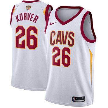 Nike Cavaliers #26 Kyle Korver White The Finals Patch NBA Swingman Association Edition Jersey