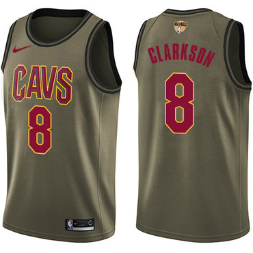 Nike Cavaliers #8 Jordan Clarkson Green Salute to Service The Finals Patch NBA Swingman Jersey