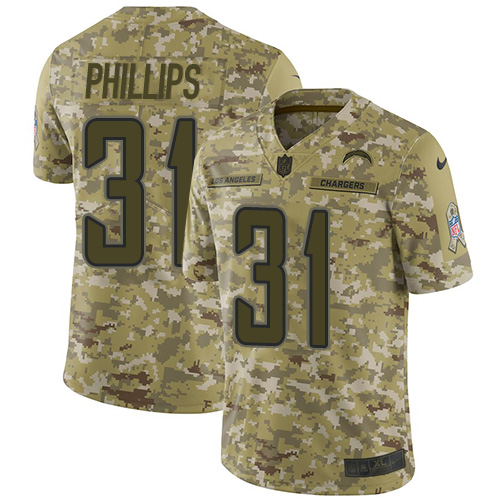 Nike Chargers #31 Adrian Phillips Camo Men's Stitched NFL Limited 2018 Salute To Service Jersey
