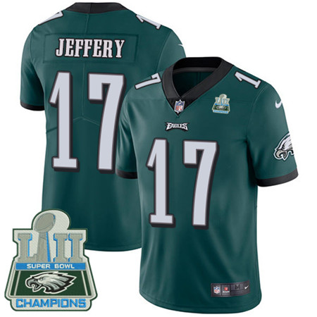Nike Eagles #17 Alshon Jeffery Midnight Green Team Color Super Bowl LII Champions Youth Stitched NFL Vapor Untouchable Limited Jersey