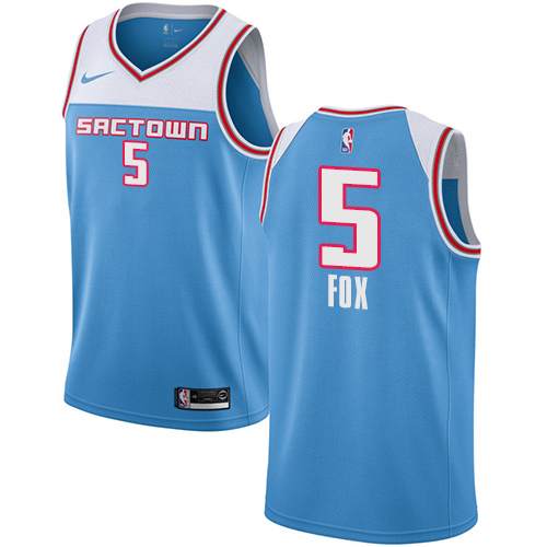 Nike Kings #5 De'Aaron Fox Blue NBA Swingman City Edition 2018 19 Jersey