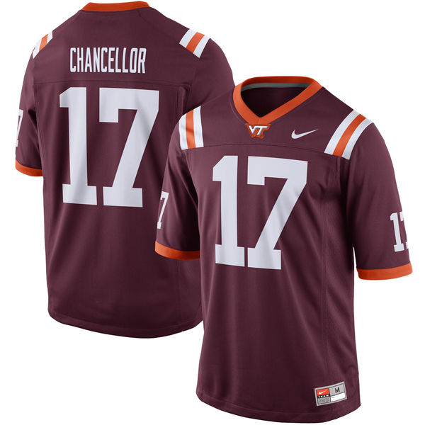 Nike Mens Virginia Tech Hokies #17 Kam Chancellor Alumni Football Game Jersey - Maroon