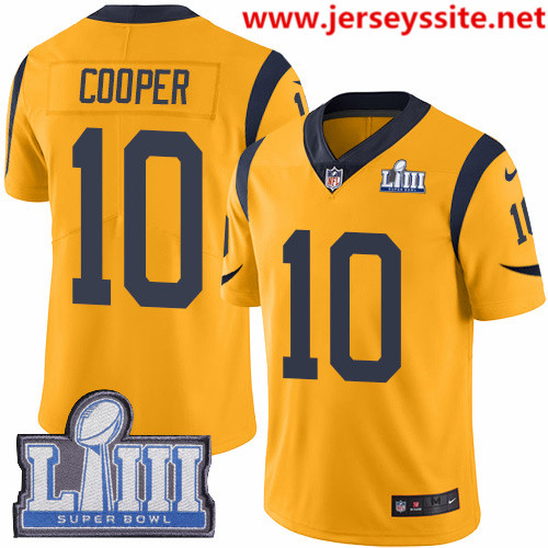 Nike Rams #10 Pharoh Cooper Gold Super Bowl LIII Bound Men's Stitched NFL Limited Rush Jersey