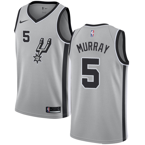 Nike Spurs #5 Dejounte Murray Silver NBA Swingman Statement Edition Jersey