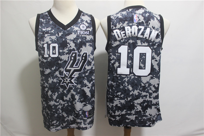 Nike Spurs 10 DeMar DeRozan Camo 2018-19 City Edition Nike Swingman Jersey