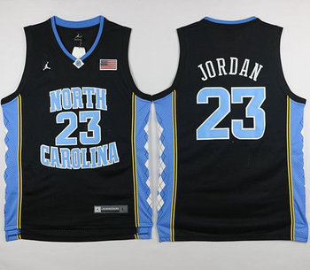 North Carolina #23 Michael Jordan Black Basketball Stitched NCAA Jersey