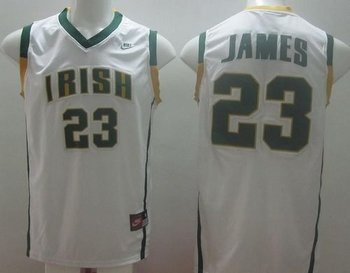 Notre Dame Fighting Irish #23 Lebron James White Basketball Stitched NCAA Jersey